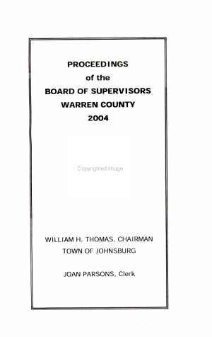 Proceedings of the Board of Supervisors of Warren County, New York