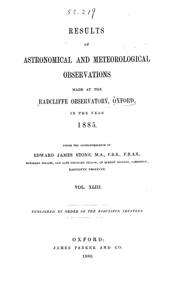 Astronomical and Meteorological Observations Made at the Radcliffe Observatory, Oxford ...