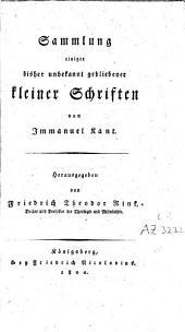Sammlung einiger bisher unbekannt gebliebener kleiner Schriften