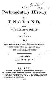 """Cobbett's Parliamentary History of England: From the Norman Conquest, in 1066. to the Year, 1803. from which Last-mentioned Epoch it is Continued Downwards in the Work Entitled, """"Cobbett's Parliamentary Debates."""" ..."""