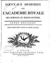 Nouveaux mémoires de l'Academie royale des sciences et belles-lettres: Année MDCCLXX [-MDCCLXXXVI], Volume6