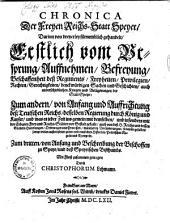 Chronica der Freien Reichsstatt Speyer: darinn von dreyerley fürnembl. gehandelt ...