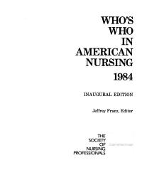 Who s who in American Nursing PDF