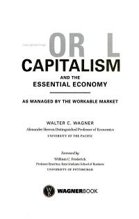 Moral Capitalism and the Essential Economy