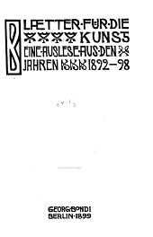 Blätter für die Kunst: 1892-98
