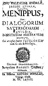 Menippus, sive, Dialogorum satyricorum centuria, inanitatum nostratium speculum, cui accessit index titulorum ...