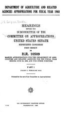Department of Agriculture and Related Agencies Appropriations for Fiscal Year 1968 PDF