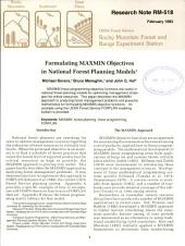 Formulating MAXMIN objectives in national forest planning models