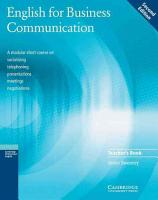 English for Business Communication Teacher s Book PDF