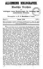Allgemeine Bibliographie monatliches Verzeichniss der wichtigern neuen Erscheinungen der deutschen und auslandischen Literatur PDF