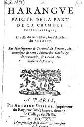 Harangue faicte de la part de la chambre ecclesiastique (etc.)
