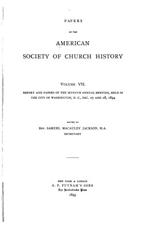 Papers of the American Society of Church History