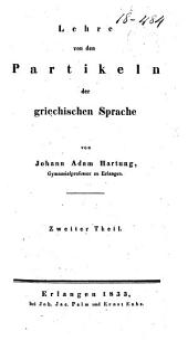Lehre von den Partikeln der griechischen Sprache: Band 2