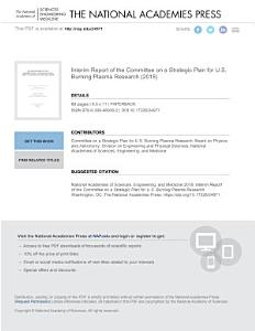 Interim Report of the Committee on a Strategic Plan for U S  Burning Plasma Research