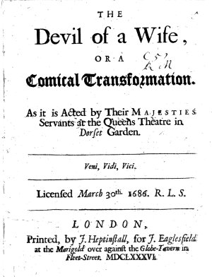 The Devil of a Wife  Or  A Comical Transformation