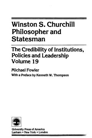 Winston S  Churchill  Philosopher and Statesman PDF