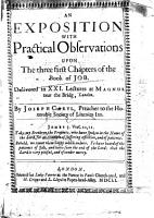 An Exposition with Practical Observations Upon the Three First Chapters of the Book of Job PDF