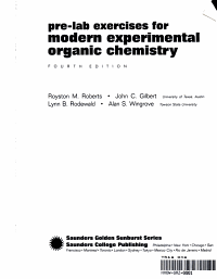 Pre Lab Exercises for Modern Experimental Organic Chemistry