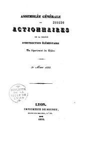 Assemblée générale des actionnaires de la Société pour l'instruction élémentaire du Département du Rhône [1832]