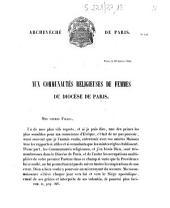 Archevêché de Paris. N°129... Aux communautés religieuses de femmes du diocèse de Paris