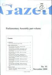 Gazette Parliamentary assembly No. VI/2000, November 2000