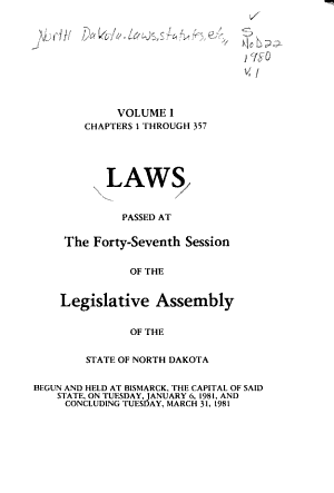 Laws Passed at the Session of the Legislative Assembly of North Dakota PDF