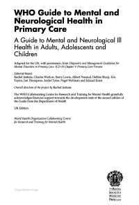 WHO Guide to Mental and Neurological Health in Primary Care  A guide to mental and neurological ill health in adults  adolescents and children  2nd Edition PDF
