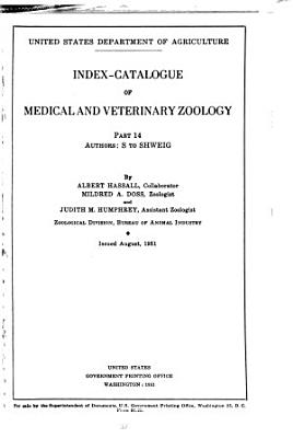 Index catalogue of Medical and Veterinary Zoology  Authors PDF
