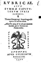 Rubricae sive summa capitulorum iuris canonici