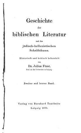 Geschichte der biblischen Literatur und des j  disch hellenistischen Schriftthums PDF