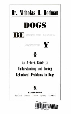 Dogs Behaving Badly PDF