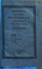 Risposta alla memoria del signor C. R. sopra l'esportazione della paglia da cappelli e l'alabastro greggio