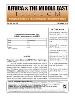 Africa   Mideast Telecom Monthly Newsletter October 2010 PDF
