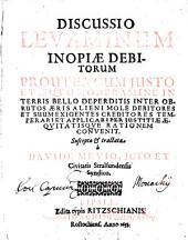 Discussio levaminum inopiae debitorum in terris bello deperditis