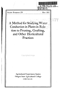 A Method for Studying Water Conduction in Plants in Relation to Pruning  Grafting  and Other Horticultural Practices PDF