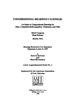 Congressional Hearings Calendar PDF
