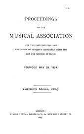 Proceedings of the Musical Association: Volume 13