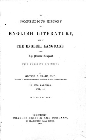 Sketches of the History of Literature and Learning in England from the Norman Conquest to the accession of Elizabeth  With specimens of the principal writers   ser  2  From the accession of Elizabeth to the Revolution of 1688  ser  3  From the Revolution of 1688 to the present day