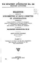 War Department Appropriation Bill, 1928 ...