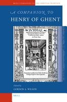 A Companion to Henry of Ghent PDF