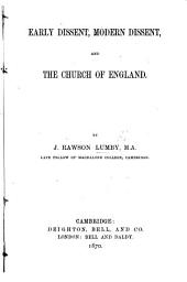 Early Dissent, modern Dissent, and the Church of England