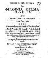 Diss. eth. de philoinia Germanorum