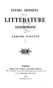 Etudes critiques sur la littérature contemporaine