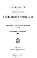 Jahresbericht   ber die Erscheinungen auf dem Gebiete der germanischen Philologie PDF