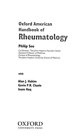 Oxford American Handbook of Rheumatology