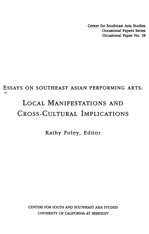 Essays on Southeast Asian Performing Arts