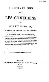 Observation sur les comédiens et sur les masques à l'usage du théâtre chez les anciens