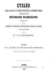 Lehrbuch der Anatomie und Physiologie der Sinnesorgane