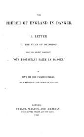 """The Church of England in Danger. A Letter to the Vicar of Islington Upon His Recent Pamphlet """"Our Protestant Faith in Danger."""" By One of His Parishioners"""
