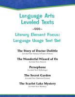 Leveled Texts  Literary Element Focus  Language Usage Text Set PDF